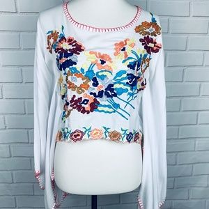 Tiare Hawaii embroidered cropped kimono top floral